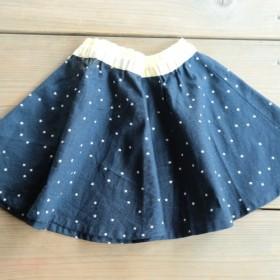 check & stripe 星の綿麻 サーキュラスカート