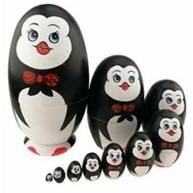可愛い蝶ネクタイをつけるペンギン 卵の形 マトリョーシカ人形 手業 手塗り 木製品 10個組 誕生日プレゼント 贈り物 子供のおもちゃ 飾り