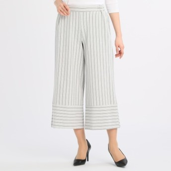 カルージュストライプ裾切替デザインワイドパンツ