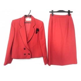 【中古】 ラピーヌブランシュ lapine blanche スカートスーツ サイズ9 M レディース レッド 黒