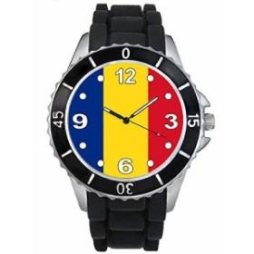 Timest - ルーマニア国フラグ - ブラックSE0509bの中のシリコーンストラップとの男女両用の時計