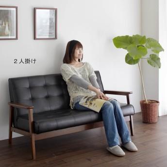 木肘合皮ソファー(1人掛け/2人掛け)