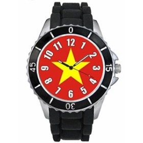 Timest - ベトナム国フラグ - ブラックSE0560bの中のシリコーンストラップとの男女両用の時計