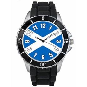 Timest - スコットランド国フラグ - ブラックSE0520bの中のシリコーンストラップとの男女両用の時計