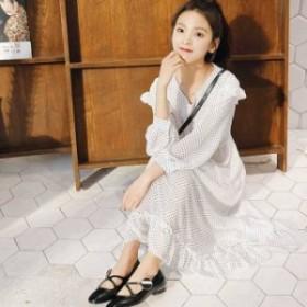 韓國 ワンピース ファッション レディース 大きいサイズ 花柄 ドット柄 シフォン フリル シャツ ロング オルチャン 春