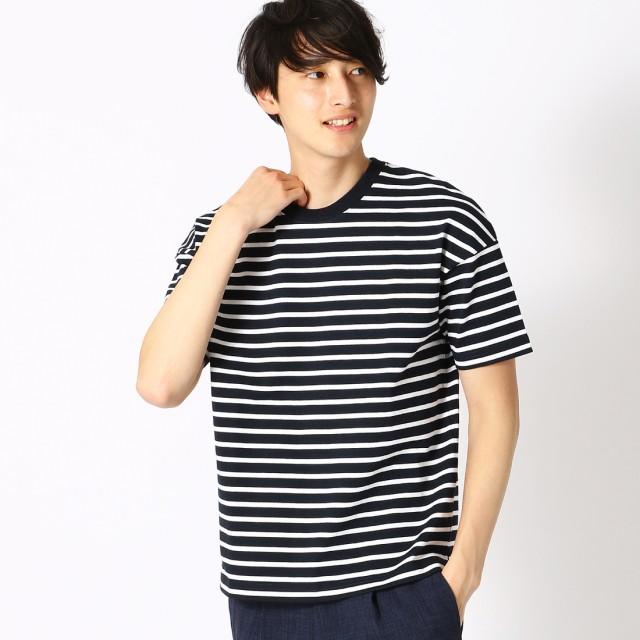 コムサイズム COMME CA ISM ボーダー Tシャツ (ネイビー)