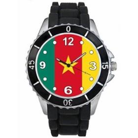 Timest - カメルーン国フラグ - ブラックSE0375bの中のシリコーンストラップとの男女両用の時計