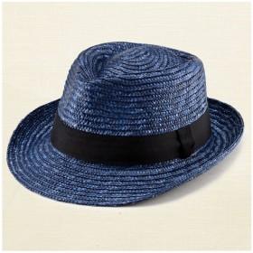 ノア 中折れ 麦わら帽子 ストローハット ブルー 56.5cm [UK-H005-S-BL]