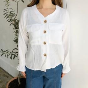 シャツ - SHEENA 胸ポケット付ノーカラーシャツ シャツ ブラウス カーディガン カーデ トップス