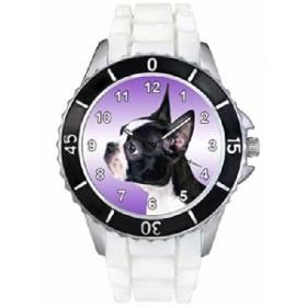 ボストンブルテリアホワイトゼリーシリコーンバンド男女両用は腕時計を見せびらかします。