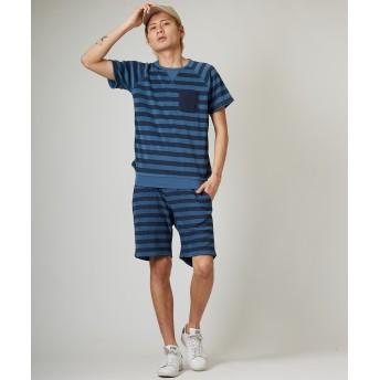 Tシャツ - improves インディゴ パイル ボーダー 半袖 トレーナー メンズ レディース Tシャツ カットソー クルーネック トップス ブルー 青 サーフ系スポーツミックス アメカジ メンズファッション インプローブス improves