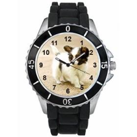 シリコーンバンドとのパピロン犬男女両用デザイン時計