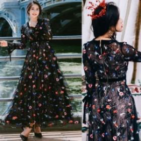 刺繍 ベル袖 ロング ワンピ レトロ フェアリー  チュール シフォンワンピース レディース 花柄ワンピース ワンピース