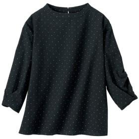 30%OFF【レディース】 タック袖ドットプリントブラウス - セシール ■カラー:ブラック ■サイズ:M,S