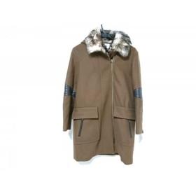 【中古】 アドーア ADORE コート サイズ38 M レディース ダークブラウン 冬物/ファー/ジップアップ