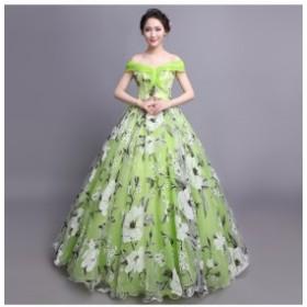 オフショルダー プリンセス ロングドレス 演奏會 結婚式 披露宴 ブライダルドレス パーディードレス パニエ付き 二次會 発表會