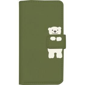 PLATA スマホケース iPhone6 iPhone6s iPhone7 iPhone8 手帳型ケース ■ しろくま × モスグリーン