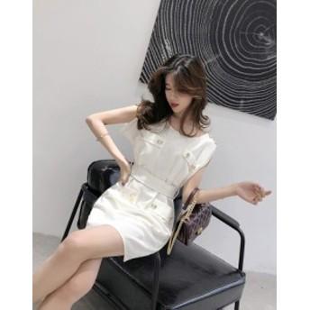 韓国 ファッション レディース ワンピース ドレス ミニ丈 ハイウエスト オルチャン 可愛い 高見え エレガント ホワイト 白 清楚