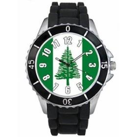 Timest - ノーフォーク島国フラグ - ブラックSE0489bの中のシリコーンストラップとの男女両用の時計