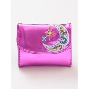 【チャイハネ】刺繍入りメタリックマハラジャミニウォレット ピンク