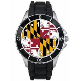 Timest - メリーランド国フラグ - ブラックSE0584bの中のシリコーンストラップとの男女両用の時計