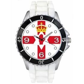 Timest--Nothernアイルランド国フラグ--(ホワイトSE0491wの中のシリコーンストラップとの男女両用の時計)