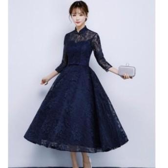 二次會 お呼ばれ  大きいサイズ ロング丈ドレス 袖あり結婚式 パーティドレス レース成人式ドレス ドレス ウェディングドレス