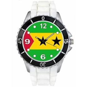 Timest--サントメ&プリンチペ国はたれ下がります--(ホワイトSE0518wの中のシリコーンストラップとの男女両用の時計)