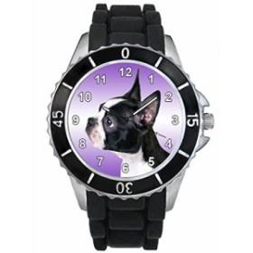 シリコーンバンドとのボストンブルテリア男女両用デザイン時計
