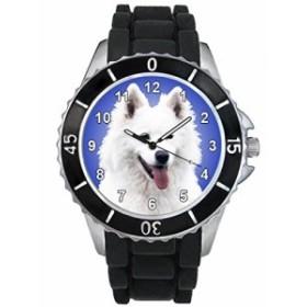 シリコーンバンドとのサモイェード族の男女両用のデザイン時計