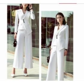 ea436752f2295 フォーマル 大きいサイズ 七五三セレモニー ビジネス 2點セット女性通勤スーツ 春新作ホワイト長袖