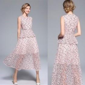 セットアップ ドレス 20代 パーティードレス 花柄 結婚式 お呼ばれドレス 30代 ロング ノースリーブ 二次會 40代 お呼
