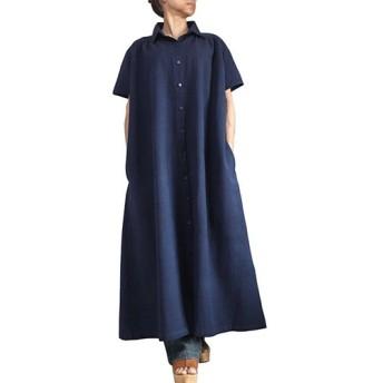 ジョムトン手織り綿半袖ドレスコート インディゴ紺(JFS-156-03)