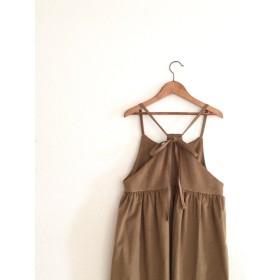再販★LADY'Sセミオーダー27色★コーデュロイの後ろリボンロングサロペットスカート