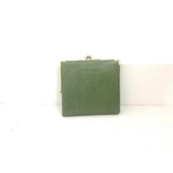 【中古】 ニナリッチ NINARICCI 2つ折り財布 ダークグリーン がま口 レザー