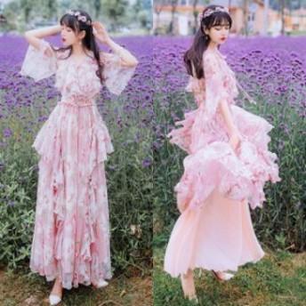 ワンピース フェアリードレス レディース シフォンワンピース ロング 七分袖 ボヘミアン 花柄ワンピース チュール