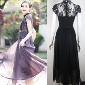お呼ばれ ロング 袖あり お呼ばれドレス 透け 結婚式 ドレス 20代 ワンピース 二次會 40代 30代 パーティードレス