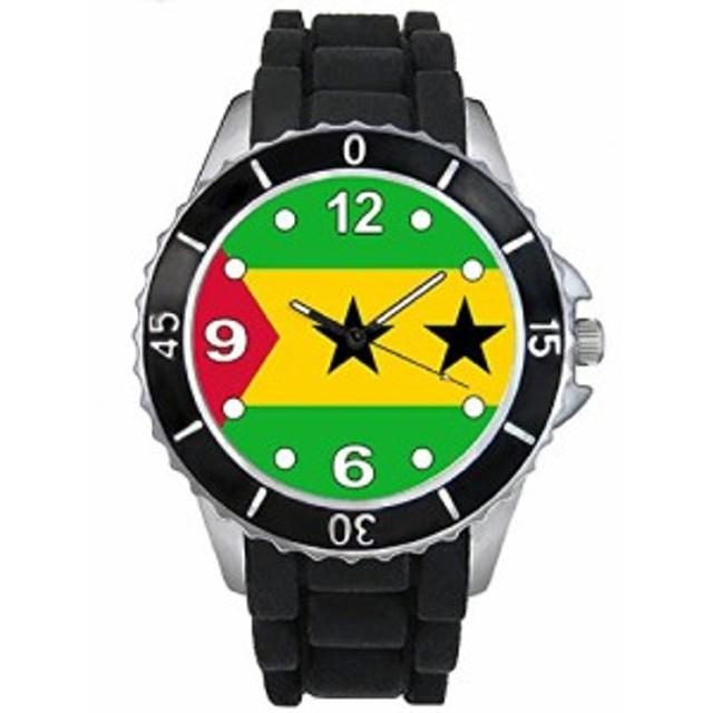 Timest - サントメ&プリンチペの国フラグ - ブラックSE0518bの中のシリコーンストラップとの男女両用の時計