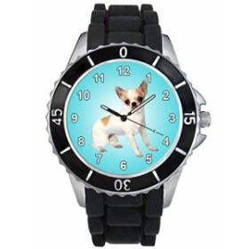 シリコーンバンドとのチワワ男女両用デザイン時計