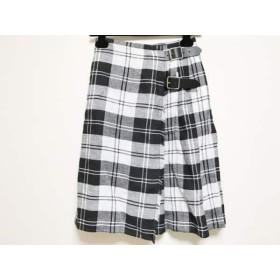 【中古】 オニール O'NEIL 巻きスカート サイズ42 L レディース 黒 白 チェック柄