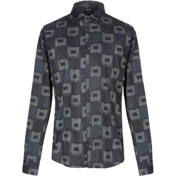 《セール開催中》ARMANI JEANS メンズ シャツ ブルーグレー S 97% コットン 3% ポリウレタン