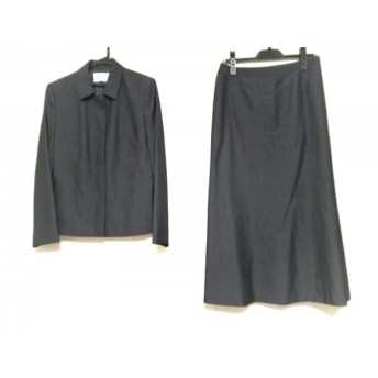 【中古】 ジユウク スカートスーツ サイズ40 M レディース ダークグレー ロング丈スカート/肩パッド