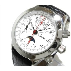 【中古】 ジン 腕時計 6026 メンズ SS/クロノグラフ/トリプルカレンダー/ムーンフェイズ/裏スケ/革ベルト