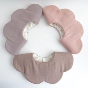 裏地が選べる 全5色 360°スタイ 北欧調カラー スラブガーゼの花びらスタイ もくもくスタイ