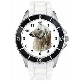 Afghane猟犬ホワイトゼリーシリコーンバンド男女両用は腕時計を見せびらかします。