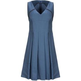 《セール開催中》PIAZZA SEMPIONE レディース ミニワンピース&ドレス ブルー 40 麻 57% / コットン 40% / ポリウレタン 3%
