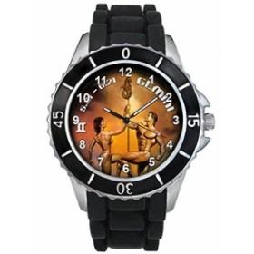 シリコーンバンドとの双子座十二宮合図男女両用デザイン時計