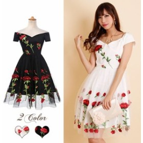 ドレス ミニ ドレス パーティードレス 膝丈 結婚式 レターパック発送で送料無料 薔薇柄刺繍入りチュール重ねAラインミディドレス