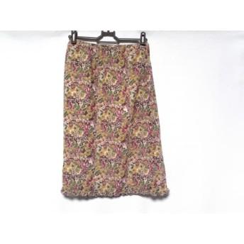 【中古】 シビラ Sybilla スカート サイズM レディース ベージュ ピンク マルチ 花柄