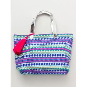 【チャイハネ】キラ織り横長トートバッグ ブルー